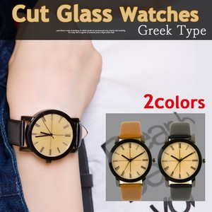 Cut Glass Artificial Leather Wrist Watch Rome Number Watch