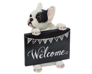 Cheerful Friends Welcome Board French Bulldog Ornament