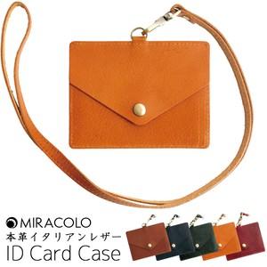 8d64c37a5a76 MIRACOLO イタリアンレザー 本革 パスケース IDカードホルダー ネックストラップ付 全5色