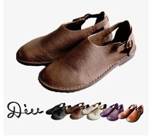 Heel Attached Leather Sandal Genuine Leather Ladies Shoe Shoes