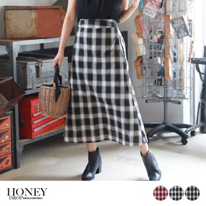 Checkered Handy Labeling Machine Skirt Long Maxi Length