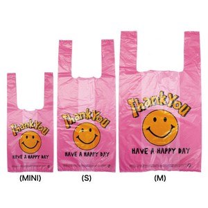 Vinyl Bag New Pattern Shopping Bag Garbage bag Shop SMILE Pink