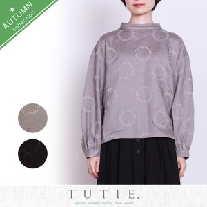 Big Linen Circle Dot Embroidery Roll Color Blouse
