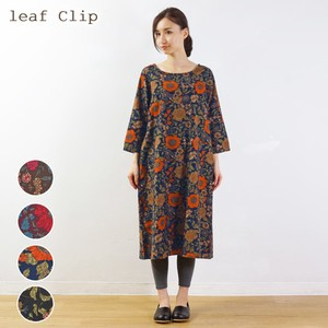 2018 A/W Retro Flower One-piece Dress Natural Leisurely Adult Floral Pattern Scandinavia