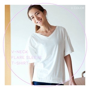 Jersey Stretch V-neck Flare T-shirt Ladies