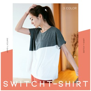 Jersey Stretch Color Scheme Switching Dolman T-shirt Ladies
