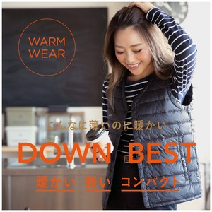 2018 A/W Inner Down Vest Vest Light-Weight Button Nylon Ladies