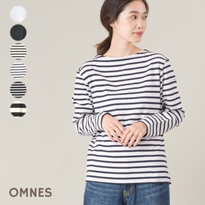 Fabric boat Neck Long Sleeve T-shirt Border Plain 2018 A/W