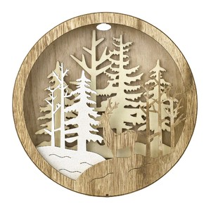 Christmas Round Wood Forest Size L