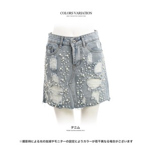 S/S Bottom Skirt Pearl Attached Damage Denim Mini Skirt