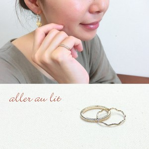 "【aller au lit】""GOLD""ピンキーリング・2本セット-三つ編み&wave-"