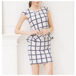 S/S Suit Set Grid Pattern Plum Suit Set