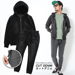 2018 A/W Men's Black Cut Denim Suit Set Hoody Pants