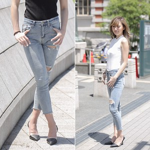 Damage Denim Pants Stretch