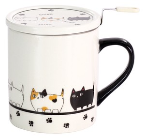 Porcelain 1Pc Neko Sankyodai With Lid Mug March