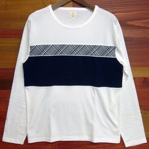 Early Spring Checkered Fabric Panel Switching Long Sleeve T-shirt