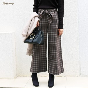 wide pants Ladies Checkered Checkered Ribbon Waist Ribbon Long