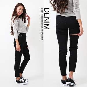 2018 A/W Ladies Denim Hip Damage Skinny