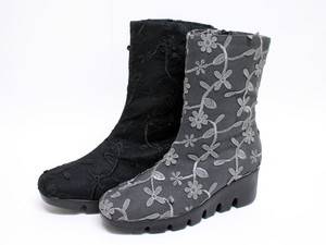 Floral Pattern Short Boots