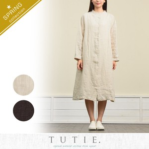 Linen Canvas Front Tuck One-piece Dress