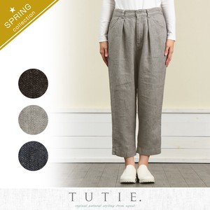 Linen Denim Tuck Cropped Pants