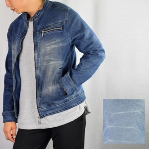 2018 A/W Stretch Denim Motorcycle Leather Jacket