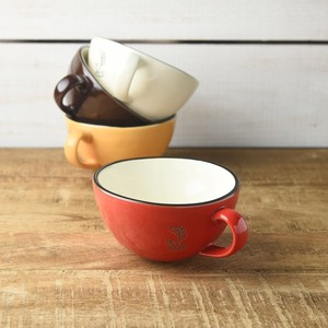 3.5 Enamel Soup Cup Red MINO Ware