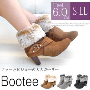 Heel Zipper Ribbon Fur Bootie Boots SC