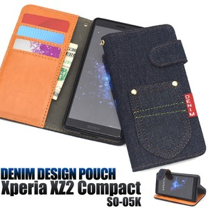 Smartphone Case Xperia XZ Pocket Denim Design Notebook Type Case