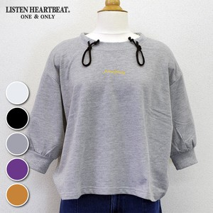 S/S Fleece Embroidery Three-Quarter Length Wide Sweatshirt