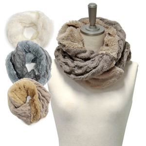 Fur Cable Knitted Twist Snood 2018 A/W Stole Scarf