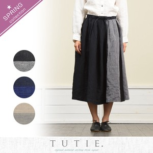 Linen Panel Bi-Color Waist Tuck Skirt