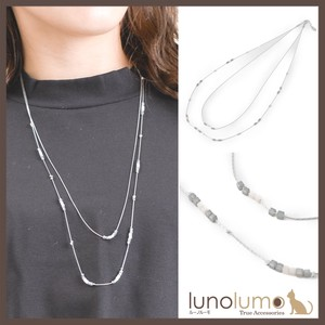 Gray Stone Double Long Necklace
