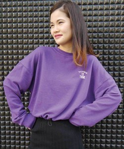 Fleece One Point Embroidery Ring Short Sweatshirt Sweat