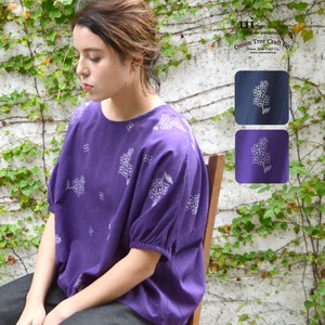 Lilac Embroidery Blouse Linen Blend