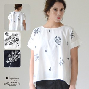 Lace Flower Embroidery Blouse Linen Blend