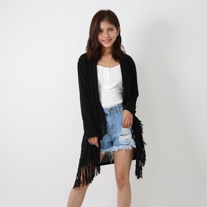 Fringe Attached Long Cardigan Cape