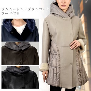 Mouton Down Coat With Hood Double Face Sheep Leather Ladies Fur