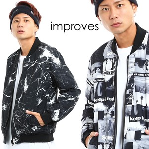 Reversible Blouson Men's Insulated Jacket Zip‐up Jacket Paint Outerwear