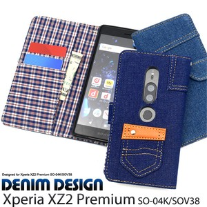 Smartphone Case Xperia XZ Premium Checkered Denim Design Notebook Type Case