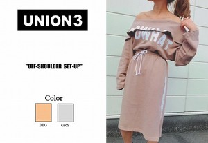 Korea Fashion Off-Shoulder Suit Set Sweat Sweatshirt Skirt