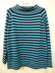 Mock Neck Border Knitted Pullover