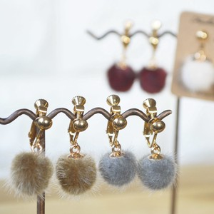 Rabbit fur Ball Earring 4 Colors