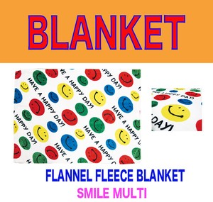 Fleece Blanket Flannel Blanket A/W SMILE MULTI Colorful