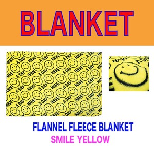 Fleece Blanket Flannel Blanket A/W SMILE Yellow Yellow