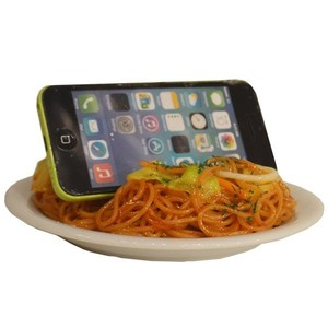 Smartphone Stand Fried Noodles Food Product Sample Interior