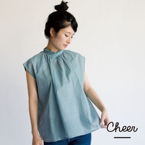 Cotton Checkered Gather Blouse