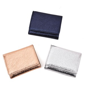 Metallic Leather Three Wallet