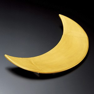 Gold Crescent Moon Plate Plate Mino Ware