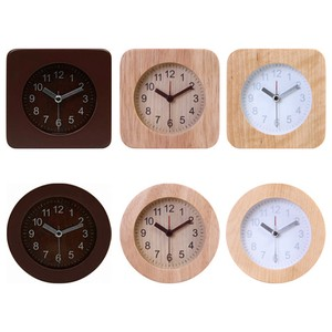 Table Clock Wood 6 Types Square Round Brown Natural White